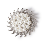DecoStar™ Diamond and Pearl Pinwheel Brooch