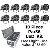 Room LED Lighting Kit - Par36 - 10 Lights W/ Free Flight Case!