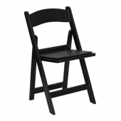 FirmFold™ Resin Folding Chair w/ Vinyl Padded Seat - 1000 lb Capacity - Black