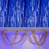 Flag Blue - Metallic Fringe Ceiling Curtain - Choose your Length
