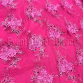Fuchsia - Flourishing Mesh Lace Overlay by Eastern Mills - Many Size Options