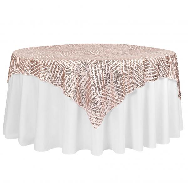 Geometric Lines Sequin Tablecloth Choose Your Size Blush Rose Gold