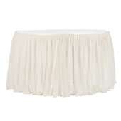 Sheer Glitter Tulle Tutu Table Skirt - 14ft Long - Ivory