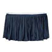 Sheer Glitter Tulle Tutu Table Skirt - 14ft Long - Navy Blue