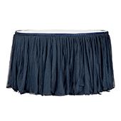 Sheer Glitter Tulle Tutu Table Skirt - 14ft Long - Navy Blue