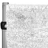 "White Sequin Backdrop Curtain w/ 4"" Rod Pocket by Eastern Mills - 8ft Long x 4.5ft Wide"
