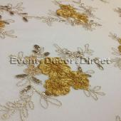 Gold - Flourishing Mesh Lace Overlay by Eastern Mills - Many Size Options