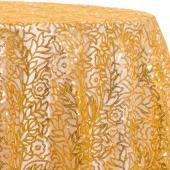 Gold - Fancy Leaf Sequin Overlay by Eastern Mills - Many Size Options