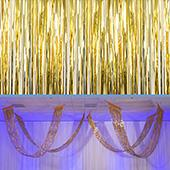 Gold - Metallic Fringe Ceiling Curtain - Choose your Length