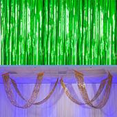 Green - Metallic Fringe Ceiling Curtain - Choose your Length