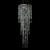 DecoStar™ 10 Inch Diameter Large Multi Diamond Cut Beaded Chandelier in Silver