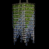 "DecoStar™ Blue & Green Beaded 4"" x 9"" Square Accent Chandelier"