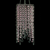 "DecoStar™ Crystal and Pink Beaded 4"" x 9"" Square Accent Chandelier"