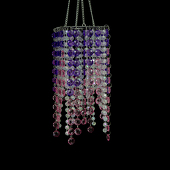 "DecoStar™ Purple Beaded 4"" x 9"" Square Accent Chandelier"