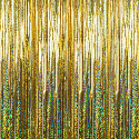 Gold - Holographic Fringe Table Skirt - Many Size Options