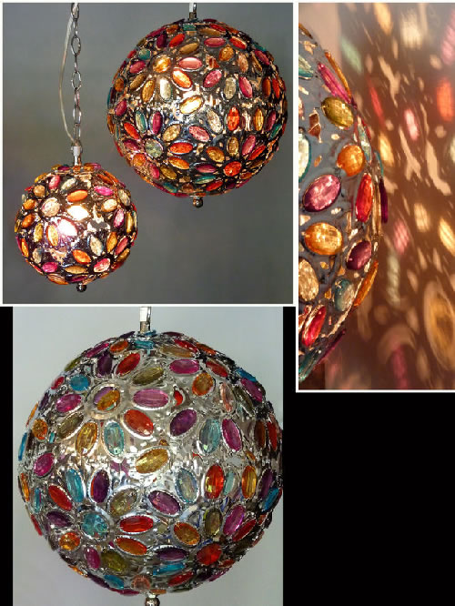 Large Multi Colored Hanging Jewel Chandelier