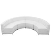 "Titan Series Leather Reception Configuration Style ""R"" 4 Pieces ""White"""