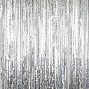 Silver - Cracked Ice Fringe Table Skirt - Many Size Options
