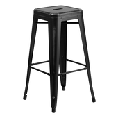 "30"" Distressed Stacking Metal Barstool - Black"