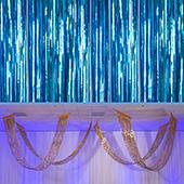 Ice Blue - Metallic Fringe Ceiling Curtain - Choose your Length
