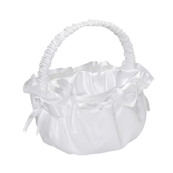 Img Flower Girl Baskets White Organza 1 Pack