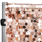 "Blush/Rose Gold Payette Sequin Backdrop Curtain w/ 4"" Rod Pocket by Eastern Mills - 8ft Long x 4.5ft Wide"