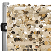 "Champagne Payette Sequin Backdrop Curtain w/ 4"" Rod Pocket by Eastern Mills - 12ft Long x 4.5ft Wide"