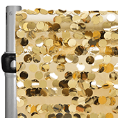 "Gold Payette Sequin Backdrop Curtain w/ 4"" Rod Pocket by Eastern Mills - 10ft Long x 4.5ft Wide"