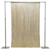 "Light Gold Sequin Backdrop Curtain w/ 4"" Rod Pocket by Eastern Mills - 14ft Long x 6ft Wide"