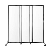 Medi-Wall Quick-Wall (Sliding) Portable Partition - Choose Your Size - Clear