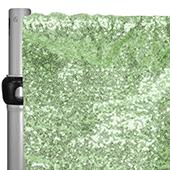 "Mint Green Sequin Backdrop Curtain w/ 4"" Rod Pocket by Eastern Mills - 8ft Long x 4.5ft Wide"