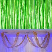 Moss Green - Metallic Fringe Ceiling Curtain - Choose your Length
