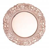 """Plastic Charger Plate With Engraved Rim 14"""" - 24 Plates - Rose Gold"""