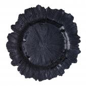 """Glass Reef Charger Plate 13"""" - 8 Pack - Black"""