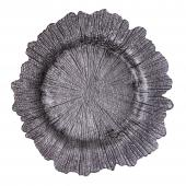 """Glass Reef Charger Plate 13"""" - 8 Pack - Charcoal"""