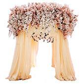 10ft Round Vanilla Cream Canopy w/ Silk Flowers