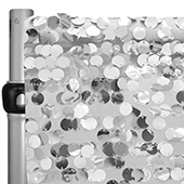 "Silver Payette Sequin Backdrop Curtain w/ 4"" Rod Pocket by Eastern Mills - 10ft Long x 4.5ft Wide"