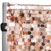 "Blush/Rose Gold Payette Sequin Backdrop Curtain w/ 4"" Rod Pocket by Eastern Mills - 10ft Long x 4.5ft Wide"