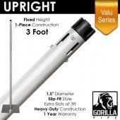"Valu Series - 3ft 1.5"" Fixed Upright w/Chrome Cap & Versatop™"