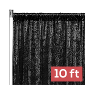 Premade Velvet Backdrop Curtain Panel - 10ft Long x 52in Wide - Black