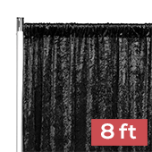 Premade Velvet Backdrop Curtain Panel - 8ft Long x 52in Wide - Black