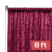 Premade Velvet Backdrop Curtain Panel - 8ft Long x 52in Wide - Burgundy