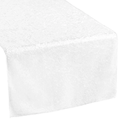 Premade Velvet Table Runner - White