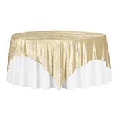 "Premade Velvet Tablecloth - 85"" x 85"" Square - Champagne"