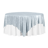 "Premade Velvet Tablecloth - 85"" x 85"" Square - Dusty Blue"