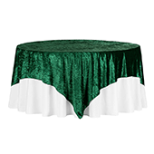 "Premade Velvet Tablecloth - 85"" x 85"" Square - Emerald Green"
