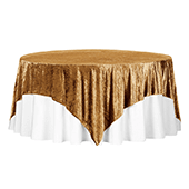 "Premade Velvet Tablecloth - 85"" x 85"" Square - Mustard Gold"