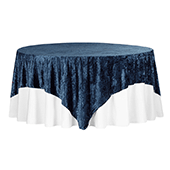"Premade Velvet Tablecloth - 85"" x 85"" Square - Navy Blue"