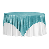 "Premade Velvet Tablecloth - 85"" x 85"" Square - Peacock Teal"
