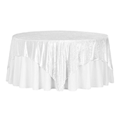 "Premade Velvet Tablecloth - 85"" x 85"" Square - White"